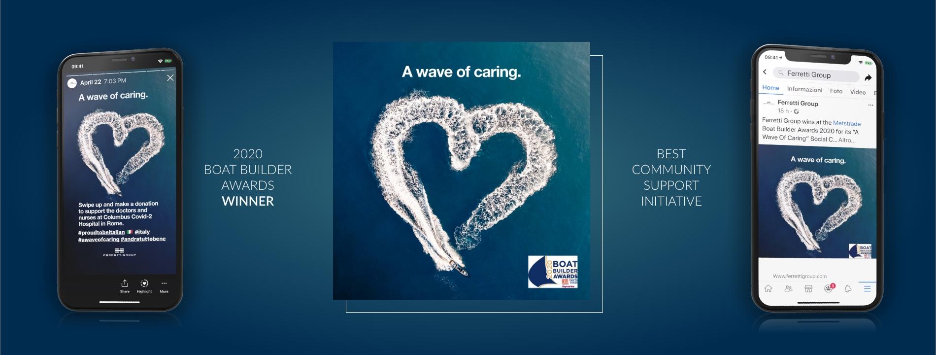 """Ferretti Group premiata ai Boat Builder Award 2020 per la campagna sociale """"A Wave Of Caring"""" ideata da Arachno."""